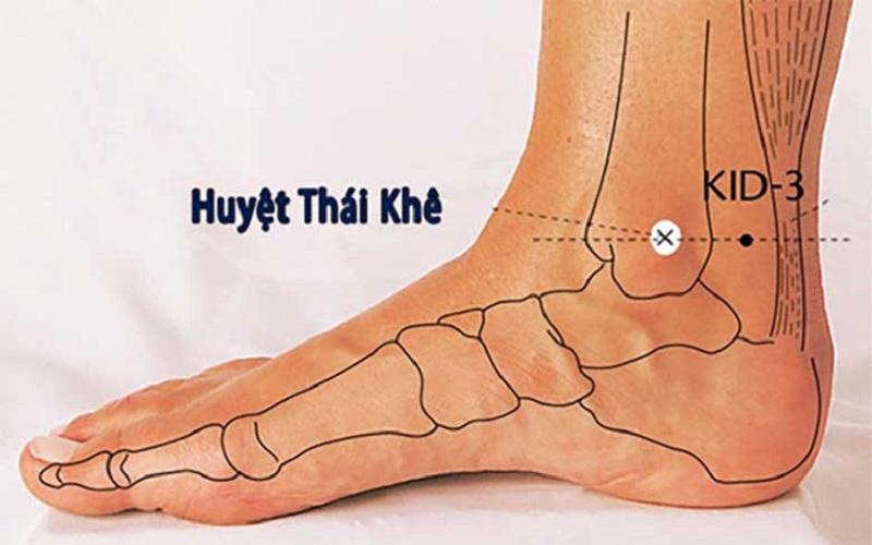 Vị trí huyệt thái khê tại cổ chân
